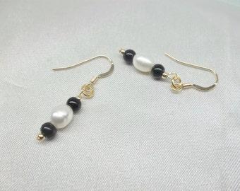 Black Onyx Pearl Earrings 14k Gold Earrings Black Onyx Earrings White Pearl Earrings Gold Filled Earrings Dangle Earrings BuyAny3+Get1 Free