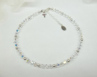 Cross Anklet Clear AB Crystal Ankle Bracelet Clear Anklet or Clear Bracelet AB Crystal Anklet 925 Sterling Silver Anklet BuyAny3+Get1 Free
