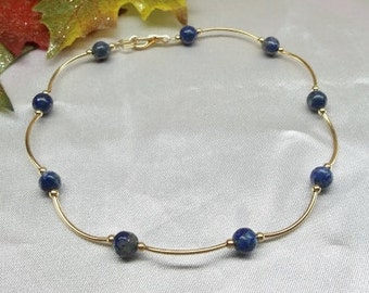 14k Gold Blue Lapis Anklet Blue Lapis Ankle Bracelet Blue Lapis Lazuli Anklet 14k Gold Filled or Plate BuyAny3+Get1Free