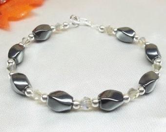 Hematite Bracelet Silver Crystal Bracelet Silver and Gray Bracelet Adjustable Bracelet 925 Sterling Silver Bracelet BuyAny3+Get 1Free