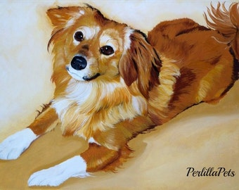 Pet portrait - custom dog portrait from your photo painted on a 10x14 canvas- memorial pet painting