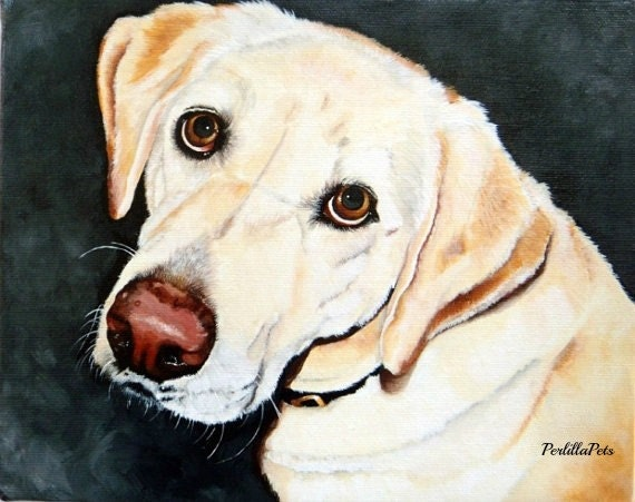 """Custom dog portrait hand painted from your photo on 8""""x10"""" canvas, gift for pet lovers"""