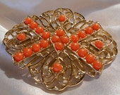 Sarah Coventry Tangerine Brooch with Coral Colored Beads