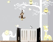 Childrens wall decal owl white jungle tree wall decal - 0200
