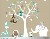 Nursery wall decal - Jungle safari owl decals white tree - 0085 - Custom listing for C.