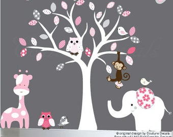 Baby wall decal white tree wall decal owl white, pink, grey leaves wall sticker - 0246