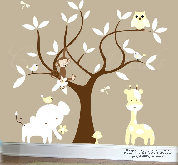 Baby animals decals brown jungle tree decal elephant decal giraffe decal - 0141