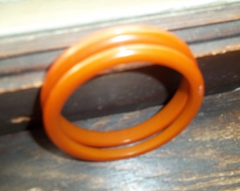 2 Brownish Bakelite Bangle Bracelets