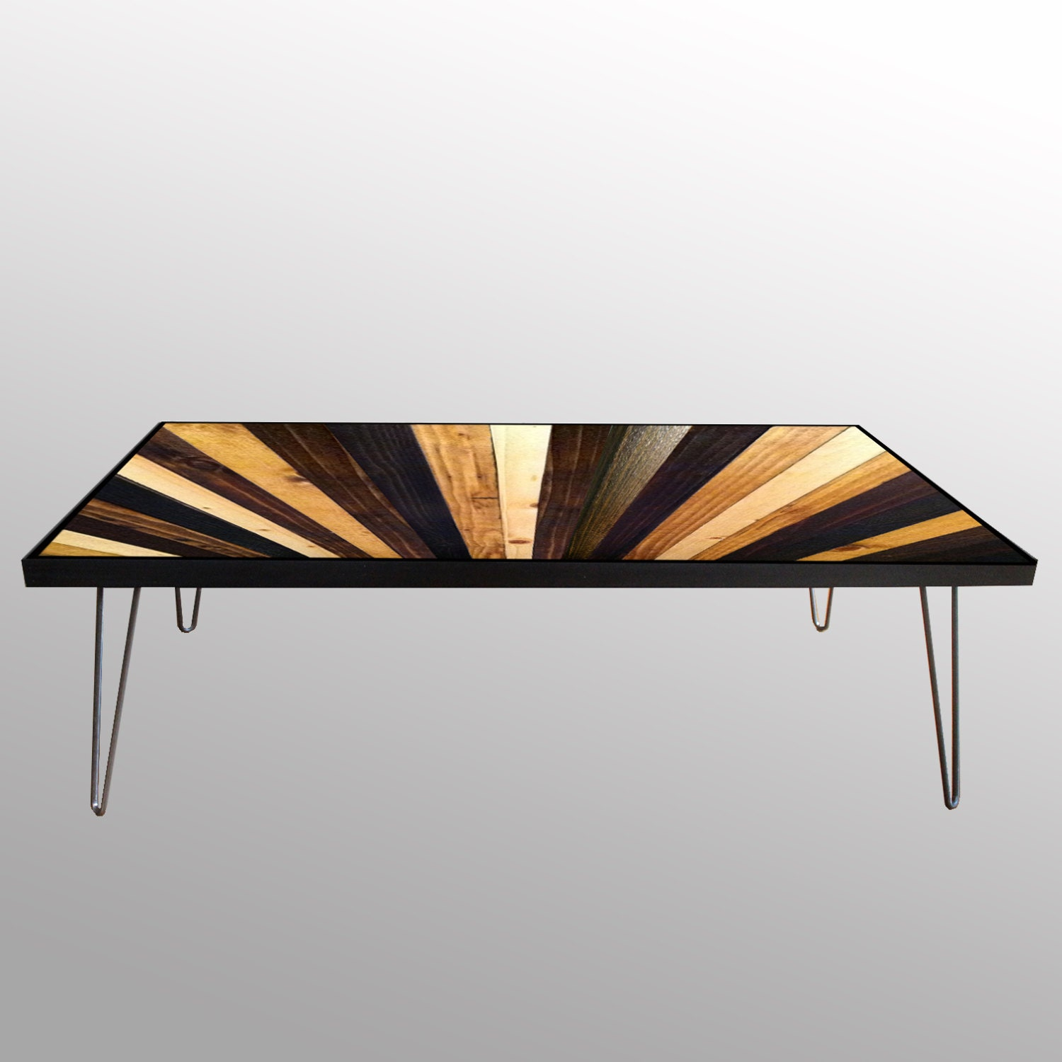 Stained Sunburst Reclaimed Wood Coffee Table Or Desk