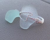 Pale Blue Seaglass Cocktail Ring