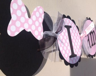 Minnie Mouse Inspired I Am 1 High Chair Banner Light Pink Polka Dot