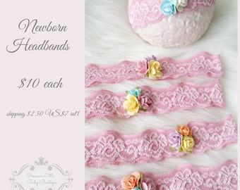 newborn baby photography prop-rose pink elastic headband with 3 roses,baby shower gift, baby photo prop,toddler headband or photography prop