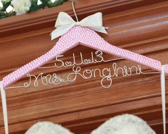 Bridal BLING Hanger with Wire Wedding Date / PINK Bling Glamorous Wedding Hanger / Personalized Hanger / Brides Hanger / Name Hanger