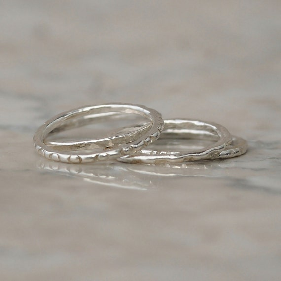 thin stacking rings silver set of seven stacking rings
