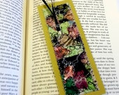 Quilted bookmark, abstract fiber art design on cardstock with ribbon tassel