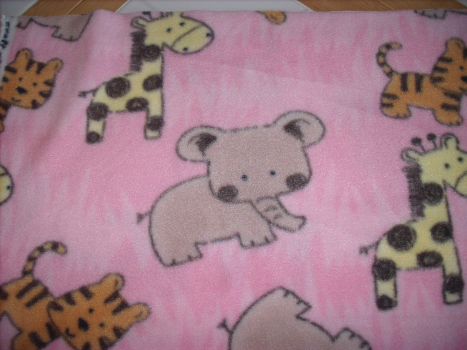 Remnant 3 8 yard fleece fabric baby animals from for Baby fabric by the yard