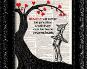Wizard Of Oz - Tin Man - Hearts Will Never Be Practical - Dictionary Print Vintage Book Page Art Upcycled Vintage Book Art