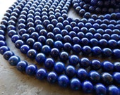8mm A Grade Lapis Lazuli Semi-Precious Round Polished Beads, Half Strand (IND1C26)