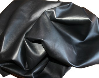 Italian soft lambskin leather skin hide skins hides BLACK 9sqf