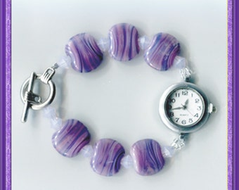 Marbled Violet Handmade Lampwork Beaded Watch Bracelet