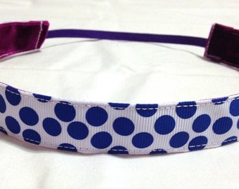NOODLE HUGGER Non slip ribbon headband - blue polka dots - 7/8 inch (running, working out, everyday: women and girls)