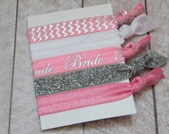 """Something Pink """"Bride"""" Hair Ties - Set of 5 Elastic Hair Ties - by Couture Flower"""