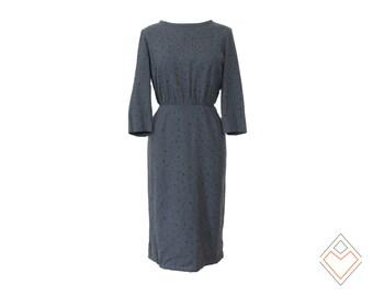 1950s - 1960s wool wiggle dress // David Levine designer dress // gray wool Constellation dark rhinestone // size medium 30 inch waist