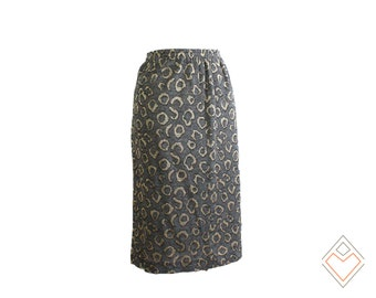 80s leopard print knit skirt // gray and metallic cheetah spot skirt // Size XL - XXL