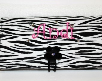 Zebra Checkbook Cover with bling