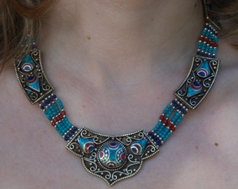 Stunning Ethnic Design Tibetan Pendant Set with Turquoise, Coral and Lapis Five Strand Necklace