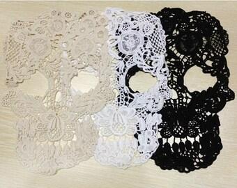 skull lace applique, venice lace applique, costume design ,Jewelry design, skull lace applique, 3'S