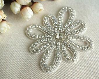 bridal rhinestone applique , crystal rhinestone applique, wedding sash rhinestone applique, rhinestone applique trim, bead applique