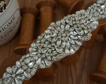 rhinestone bridal applique, crystal beaded applique for wedding sash, bridal belt, wedding sashes