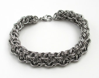 Men's thick chainmail bracelet, stainless steel Vipera Berus weave, stainless steel jewelry