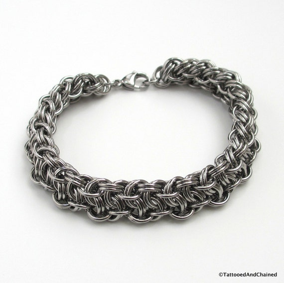 Make A Chain Mail Bracelet: Men's Thick Chainmail Bracelet Stainless Steel Vipera