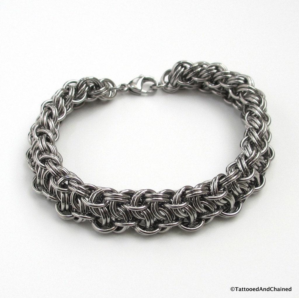 s thick chainmail bracelet stainless steel vipera