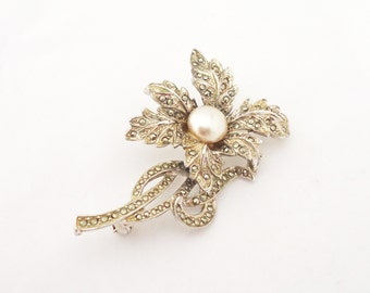 Vintage Marcasite and Faux Pearl Flower Brooch, Silver Tone Large Brooch, UK Seller