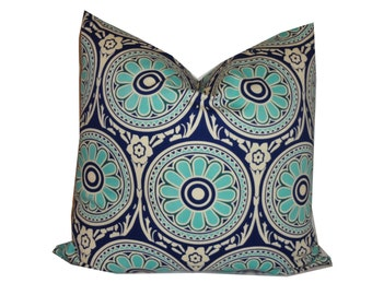 THROW PILLOW sham / cover fits 18x18 Navy Blue and Turquoise Medallion print