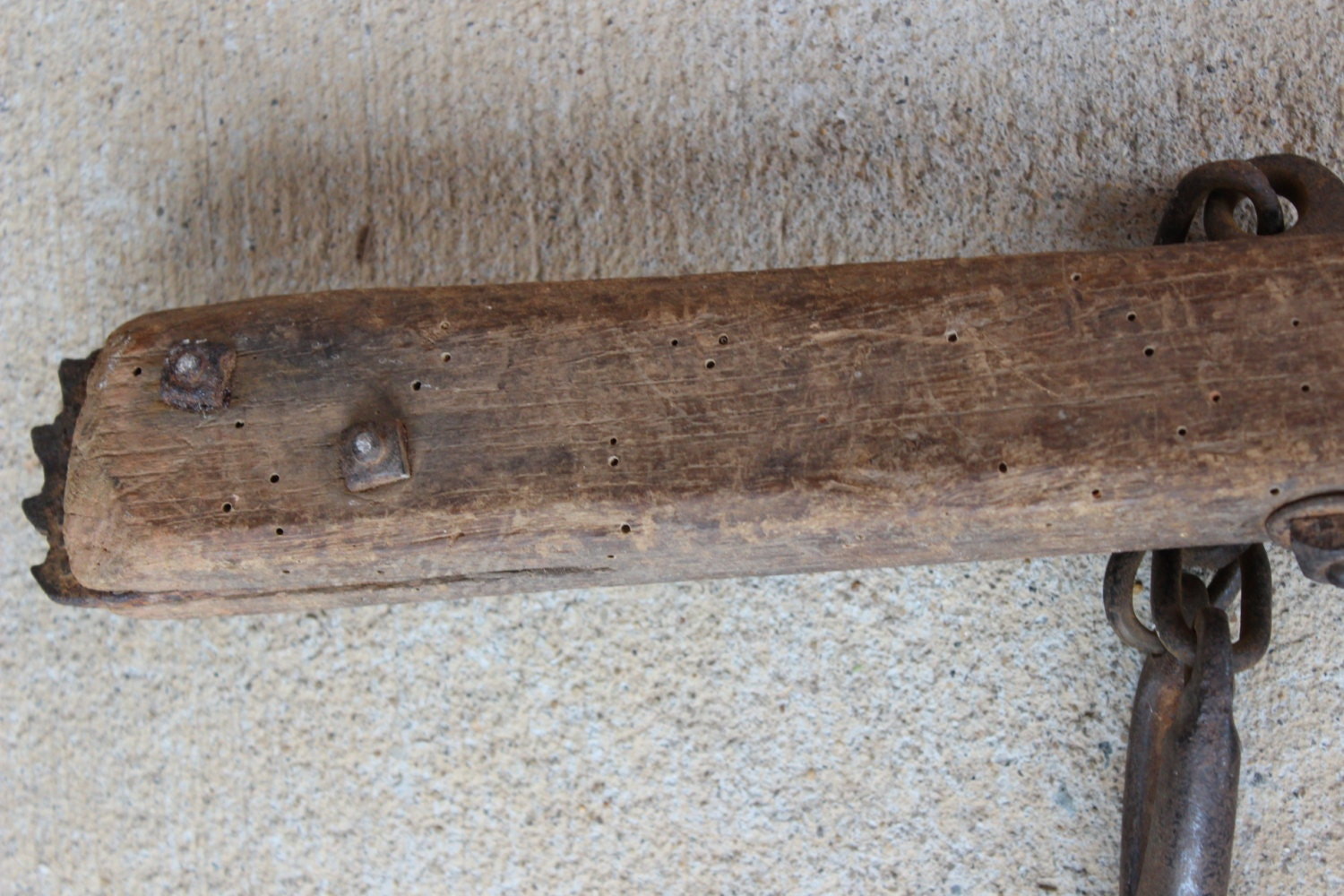 Rare Antique Painted Post Fence Stretcher Tool