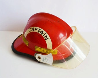 Vintage Fireman Helmet / Hat.....  Red Captain's Helmet....Firefigher