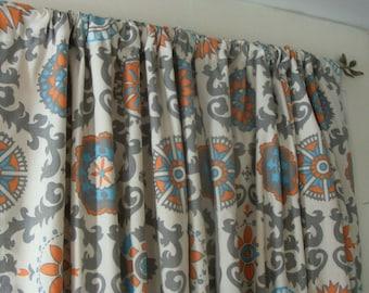 Blue Curtain Panels  Pair Lined Orange Grey Mandarin Dossett
