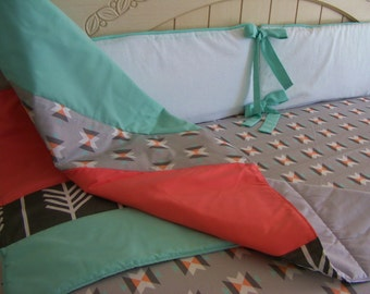 Baby Bedding Crib Bedding Cot Set 2/3 Piece Premium Modern Prints Mint Grey Coral Tribal w/ other options