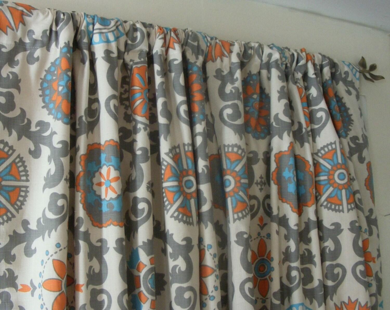 blue curtain panels pair lined orange grey mandarin dossett. Black Bedroom Furniture Sets. Home Design Ideas