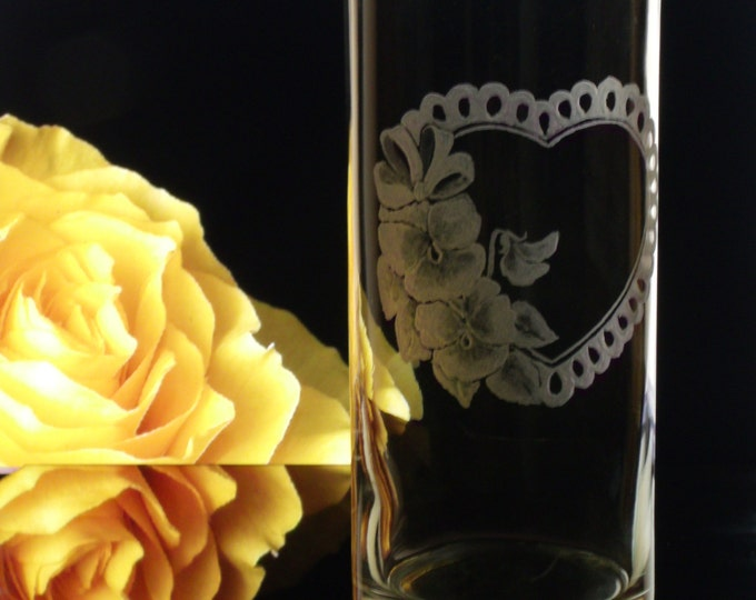 Personalized pansy floral heart  vase , cylinder, hand engraved vase glass home decor