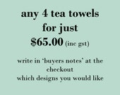 any 4 Linen Tea Towels bulk buy -  discounted