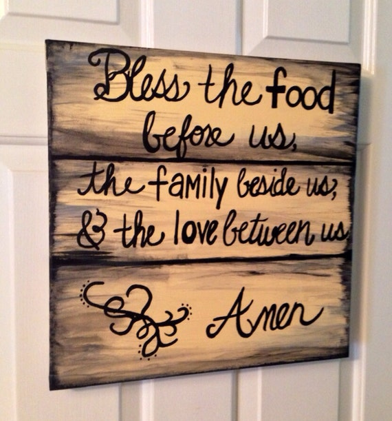 Kitchen Blessing Wall Decor: Canvas Kitchen Art Dinner Blessings Rustic By AprilGetsCrafty
