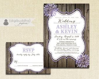 Lilac Bloom Wedding Invitation & RSVP 2 Piece Suite Wood Purple Lavender Watercolor Modern Script Shabby Chic Rustic DiY or Printed- Ashley