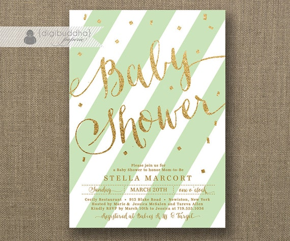 mint green gold baby shower invitation glitter pastel green mint