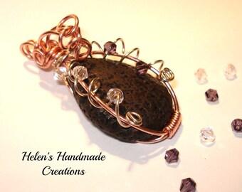 copper and arzanto wire wrapped black lava stone  pendant