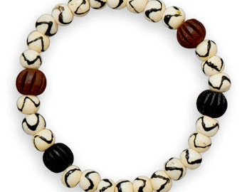 MEN'S 8 inch Bone and Wood Bead Stretch Bracelet